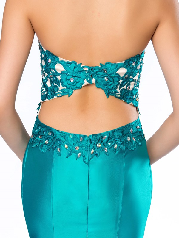 Delicate Strapless Embroidery Beading Mermaid Long Evening Dress