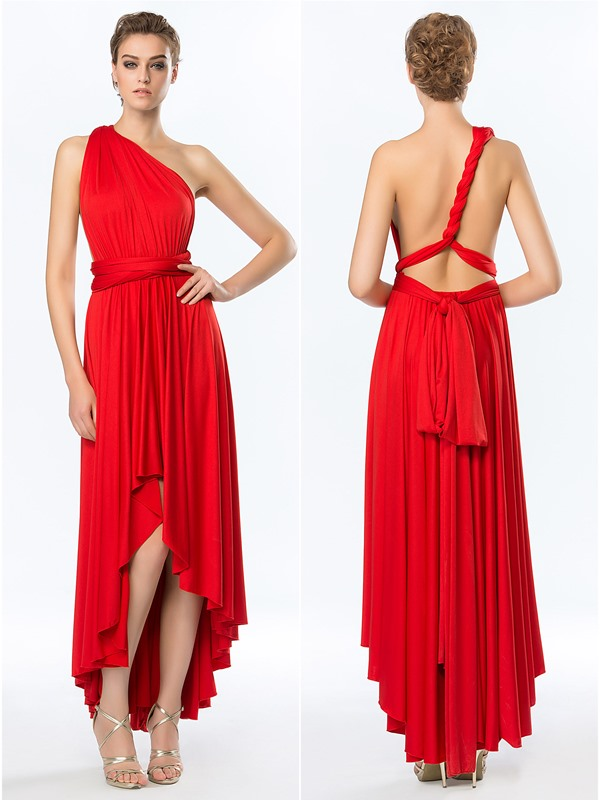 Simple Style Ruffles A-Line Asymmetry Convertible Prom Dress