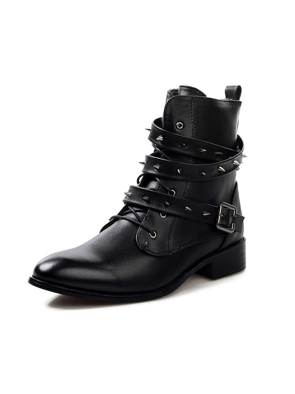 Black Rivets Strap Buckled Martin Boots