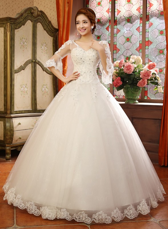 Lace Appliques V-Neck Long Sleeve Plus Size Wedding Dress