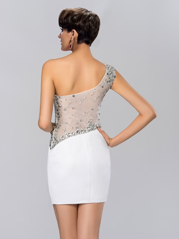 Sheath Beading One-Shoulder Short Cocktail Dress
