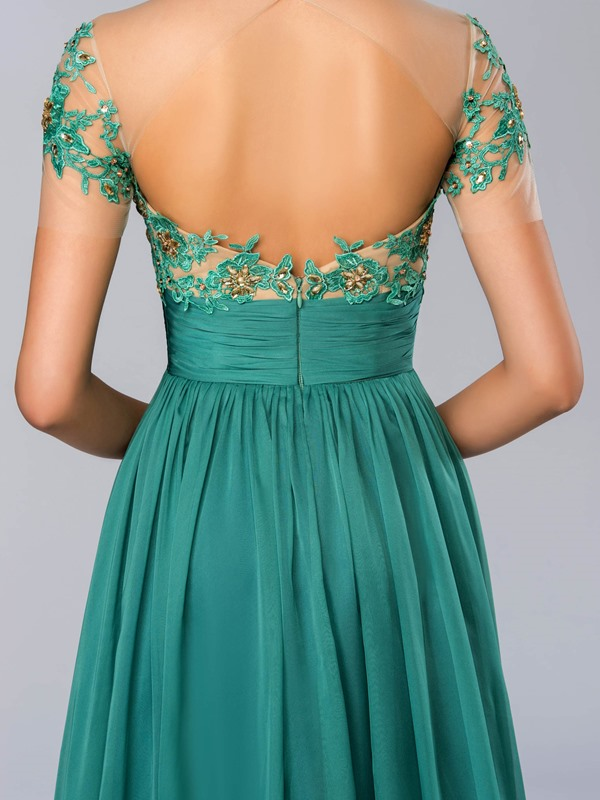 A-line Jewel Appliques Beading Evening Dress(Free Shipping)