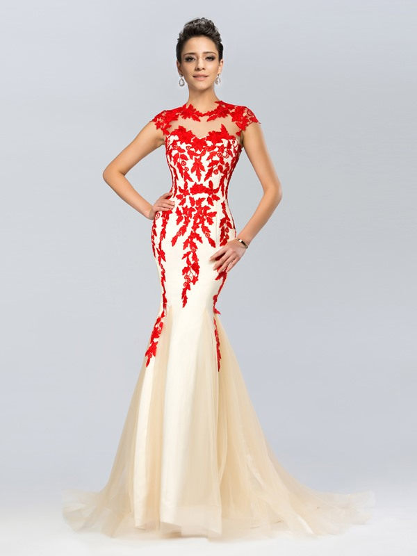 Elegant Mermaid Jewel Neck Appliques Sweep Train Long Evening Dress(Free Shipping)