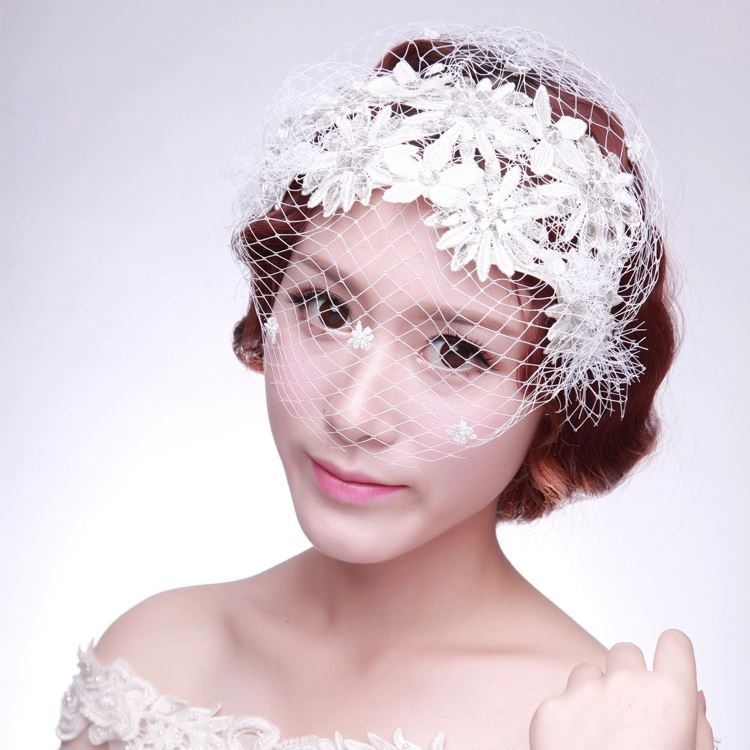 White Lace Crystal Bridal Headpiece