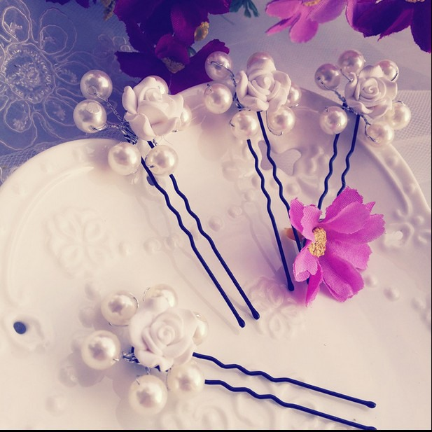 Pearl with Flower Bridal Hairpins