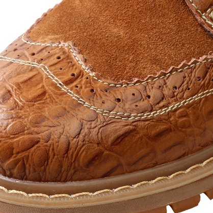 Embossed Patchwork Lace-Up Martin Boots