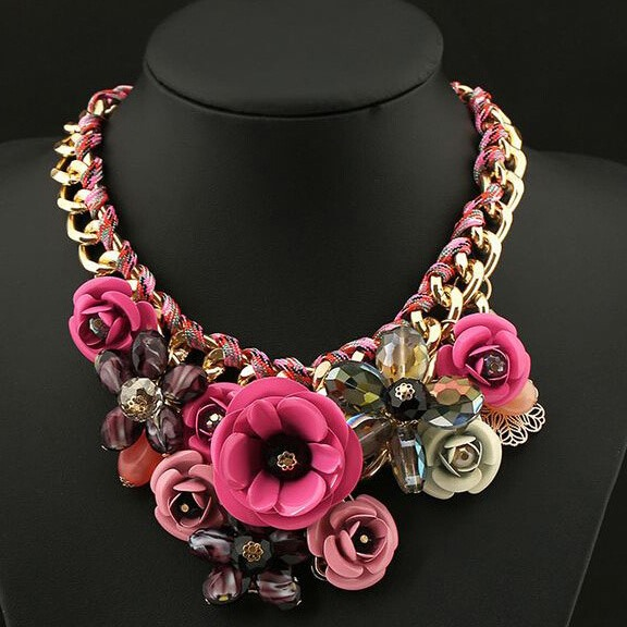 Flower-Grouped Alloy Necklace