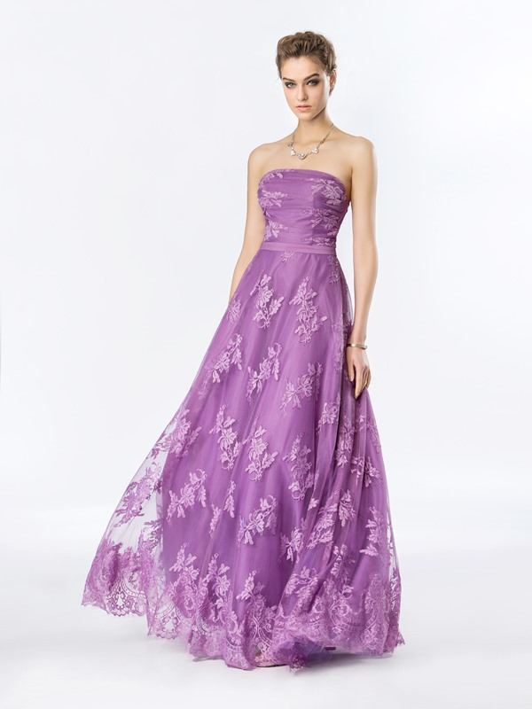 Timeless Strapless Lace A-Line Floor-Length Evening Dress Designed
