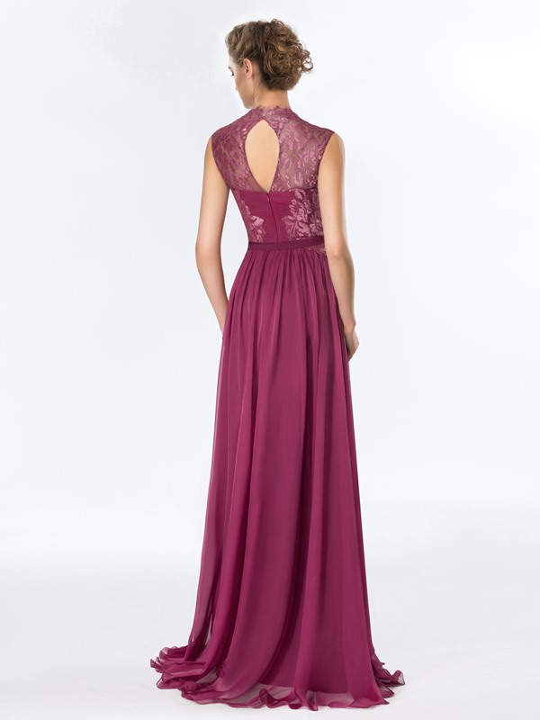 Tidebuy A-Line Ruched Lace Long Evening Dress Designed (Free Shipping)