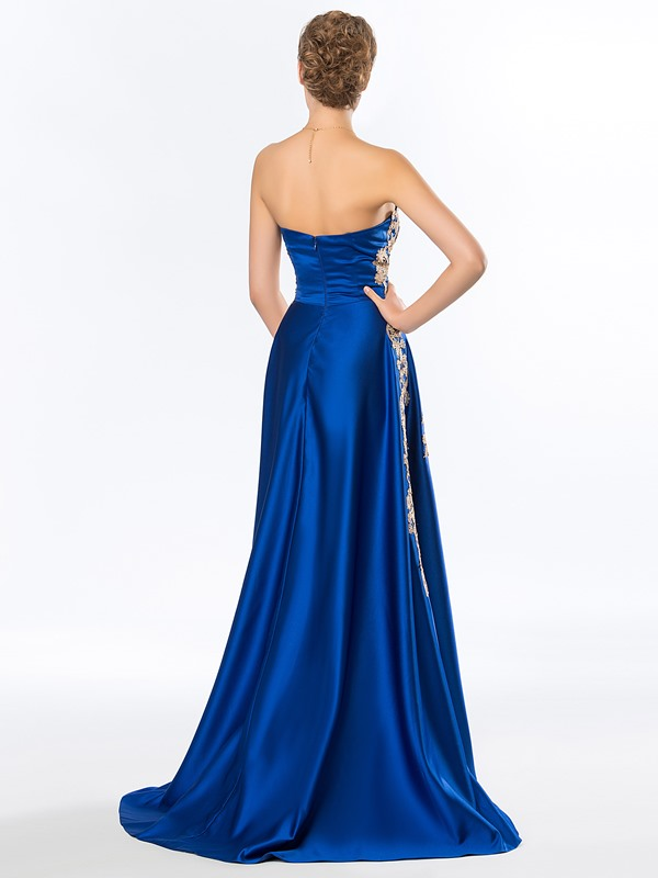 Faddish A-Line Strapless Appliques Long Evening Dress Designed