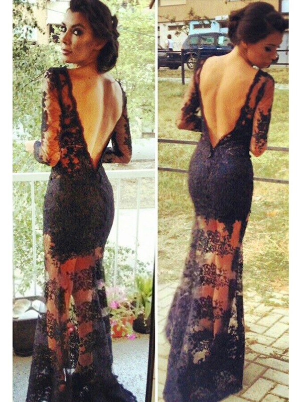 Sensual Bateau Column/Sheath Lace V-Back Long Evening Dress(Free Shipping)