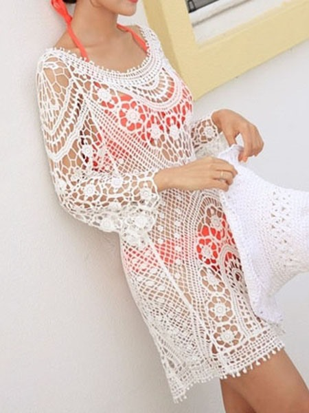 White Hollow Lace Beachwear