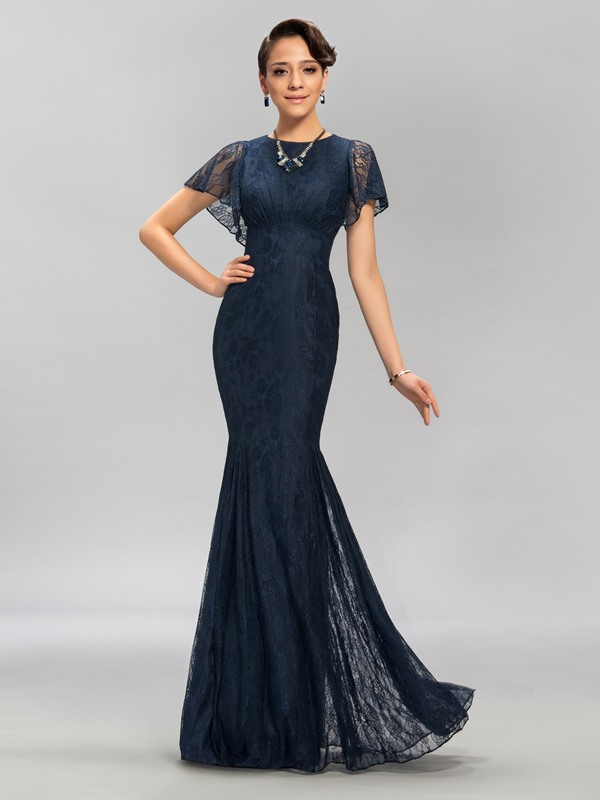 Vintage Short Sleeves Lace Mermaid Floor-Length Evening Dress Designed