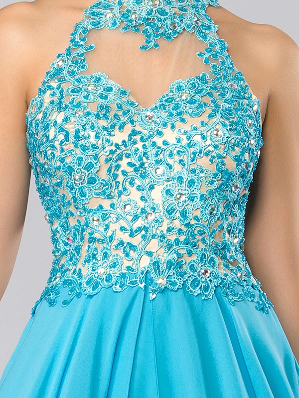 High Neck Appliques Beading A-Line Long Prom Dress
