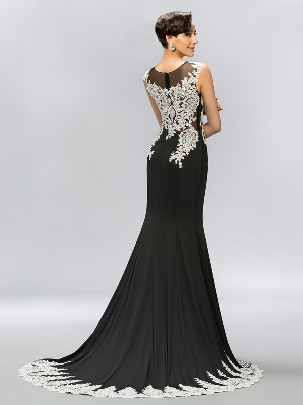 Scoop Appliques Beading Mermaid Long Evening Dress(Free Shipping)