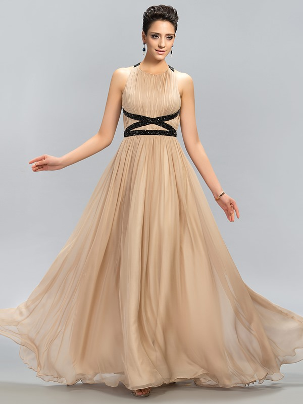 Beading Ruffles A-Line Long Evening Dress