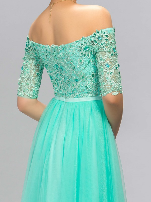 Delicate Off-the-Shoulder Half Sleeves Lace Beading Evening Dress Designed