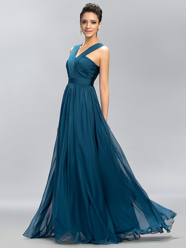 Simple V-Neck Ruffles Floor-Length A-Line Long Bridesmaid Dress(Free Shipping)
