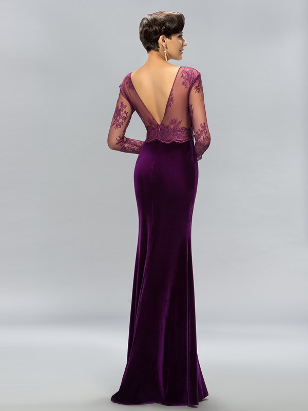 Velvet V-Neck Lace Split-Front Evening Dress (Free Shipping)