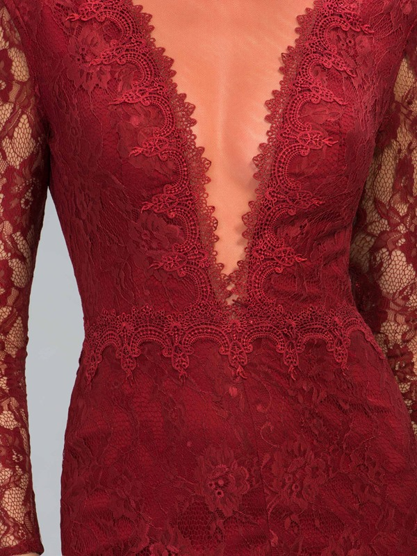 Deep V-Neck Long Sleeves Lace Split-Front Long Evening Dress Designed (Free Shipping)