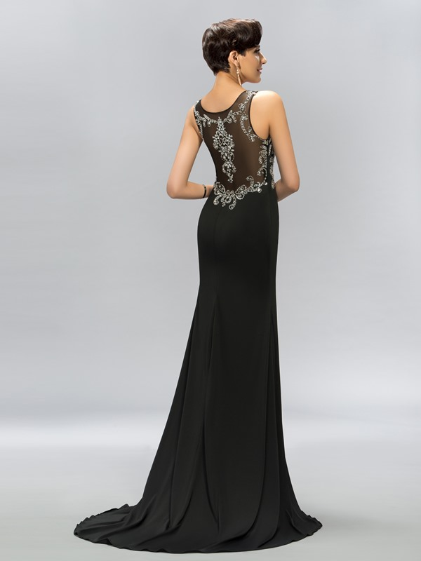 Straps Split-Front Beading Sweep Train Long Evening Dress
