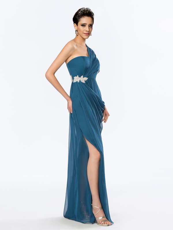 Simple Style One Shoulder Beading Floor Length Evening Dress Designed
