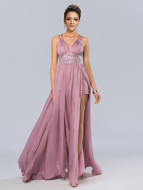 V-Neck Spaghetti Straps A-Line Empire Waistline Long Evening Dress