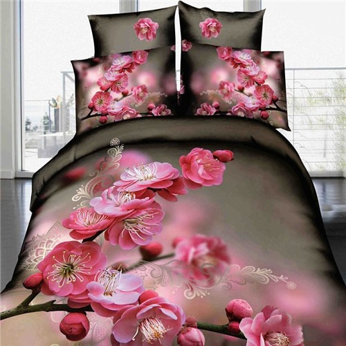 Cute Flowers Printed Cotton 3D 4-Piece Duvet Cover Set
