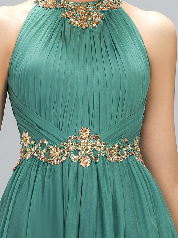 Stunning Jewel Neck Beading A-Line Long Evening Dress Designed(Free Shipping)