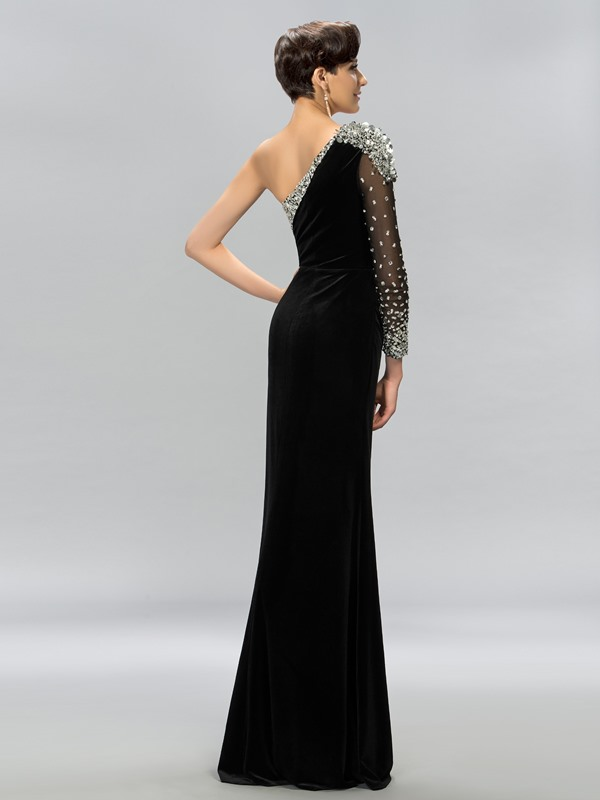 One-Shoulder Velvet Split-Front Long Evening Dress