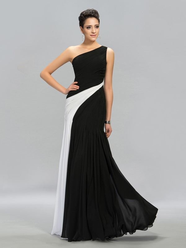 Classical Contrast Color One-Shoulder Long Evening Dress Designed