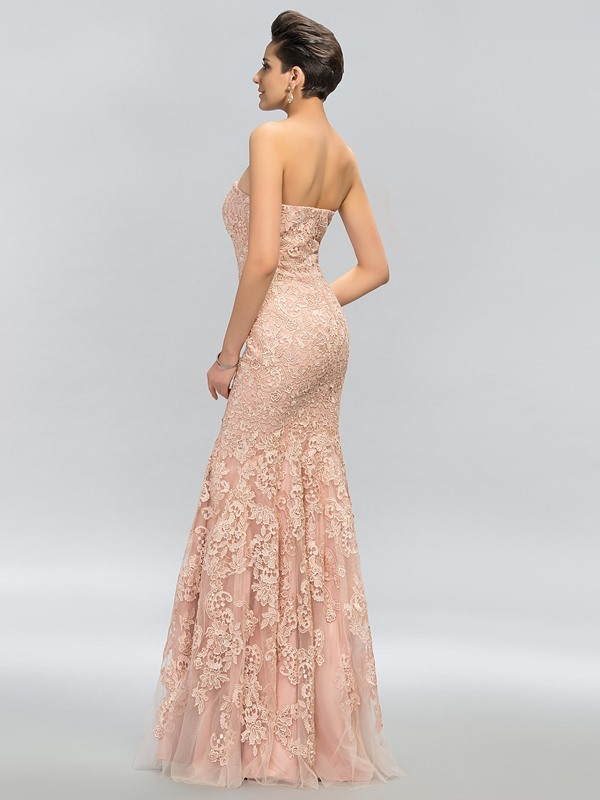 Timeless Strapless Lace Long Evening Dress Designed (Free Shipping)