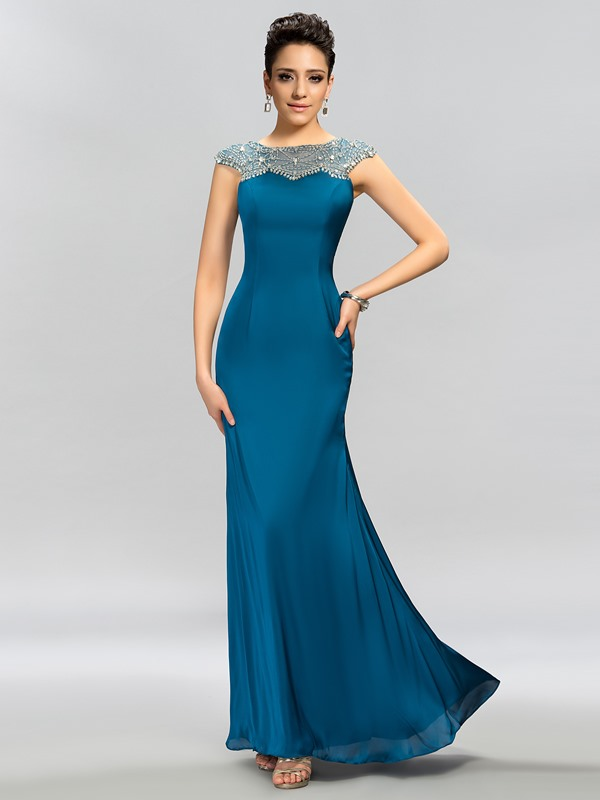 Dazzling Cap Sleeves Beaded Sheath Floor-Length Evening Dress