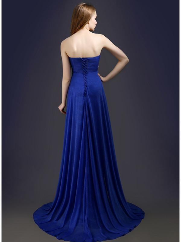 Stunning A-Line Sweetheart Beading Pleats Lace-up Long Prom Dress