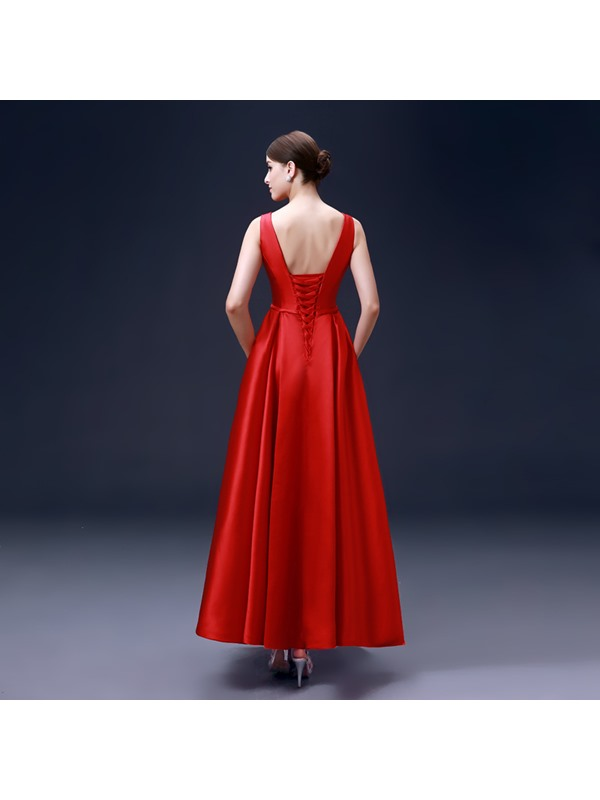 Simple Style A-Line Bowknot Sashes Lace-up Ankle-Length Evening Dress
