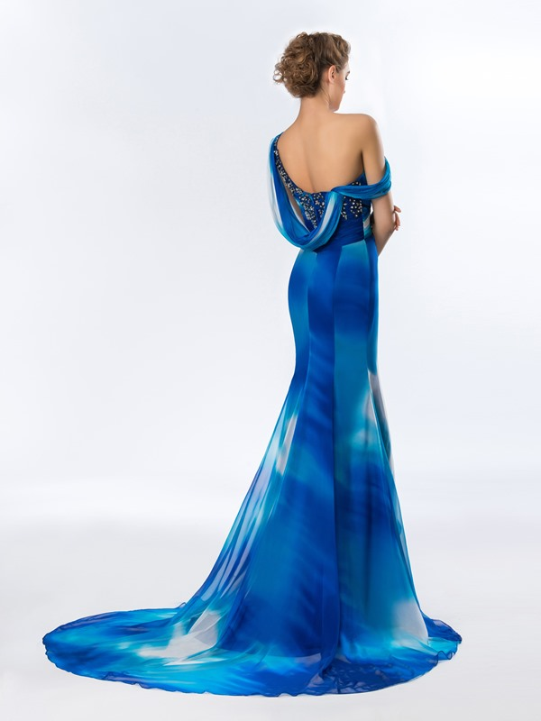 Chic One-Shoulder Draped Appliques Beading Long Evening Dress Designed