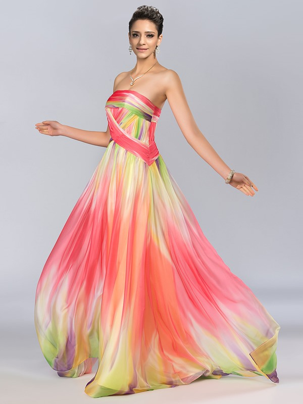 Amazing A-Line Strapless Long Print Prom Dress