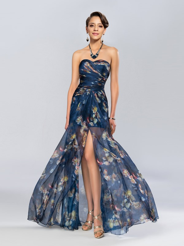 Column Sweetheart Printing Split-Front Evening Dress