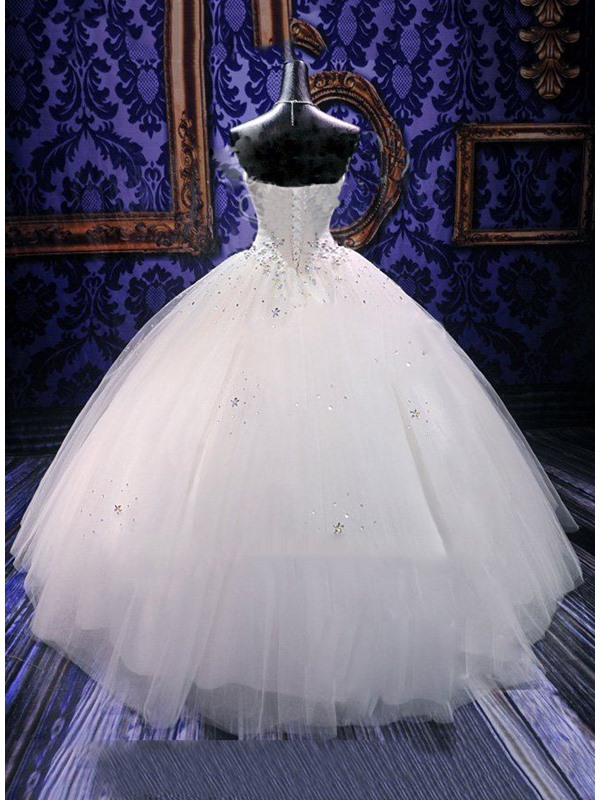 Strapless Beaded Floor Length Ball Gown Wedding Dress(Free Shipping)