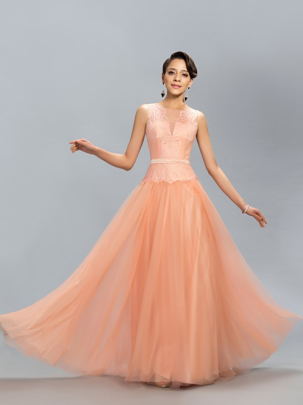 Dazzling Tulle Neckline Lace A-Line Long Evening Dress Designed