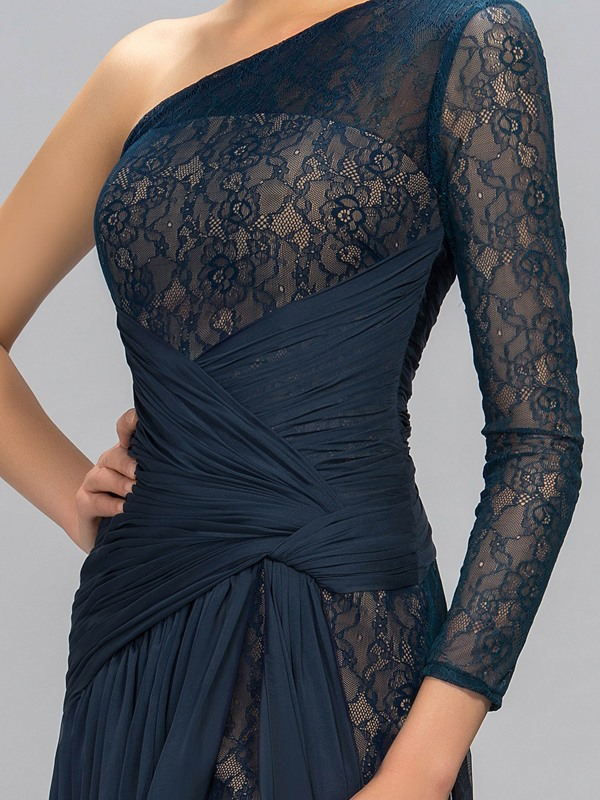 Timeless One Shoulder Long Sleeve Lace Split Front Evening Dress Designed (Free Shipping)