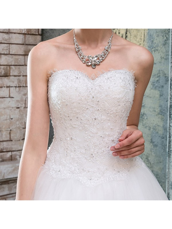 Strapless Sequins Appliques Lace Wedding Dress