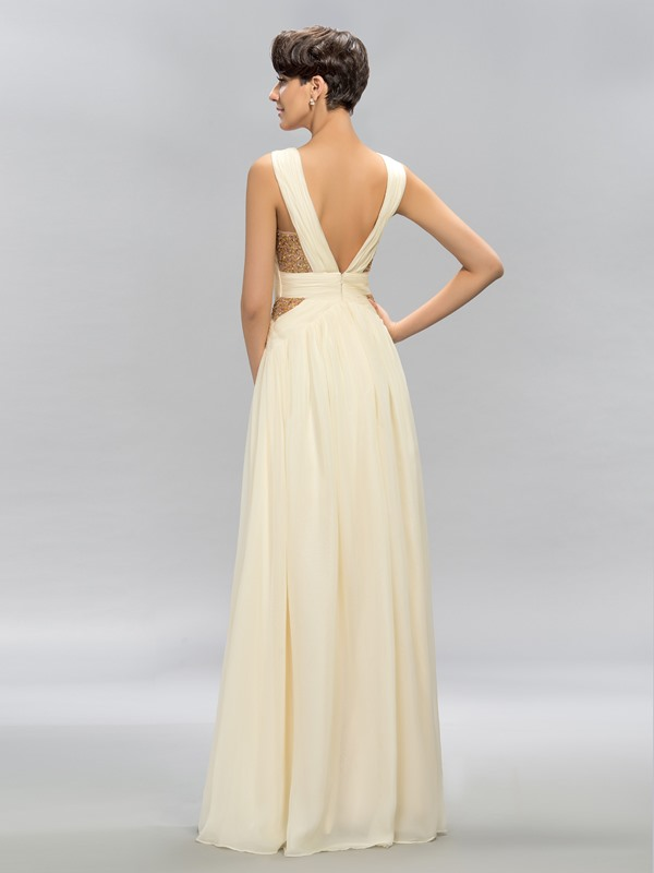 Cool Straps Bead A-Line Long Evening Dress Designed