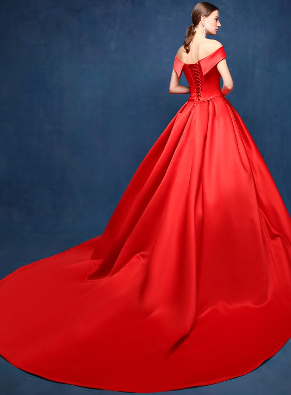 Dazzling A-Line Off-the-Shoulder Pockets Chapel Train Long Evening Dress