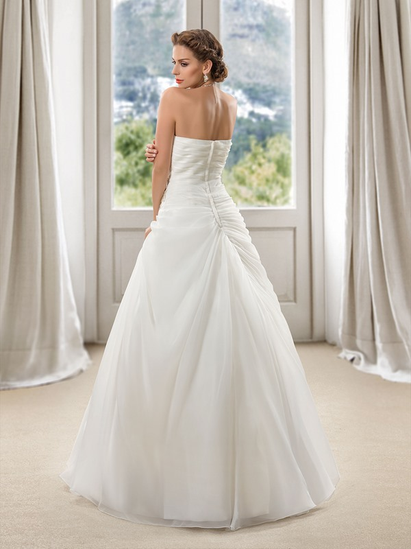 Sweetheart Floral Beaded Draped Ball Gown Wedding Dress