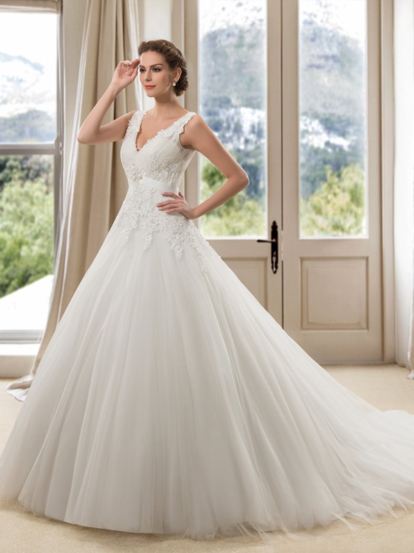 Eye-catching Lace V-Neck Floor Length A-Line Wedding Dress(Free Shipping)