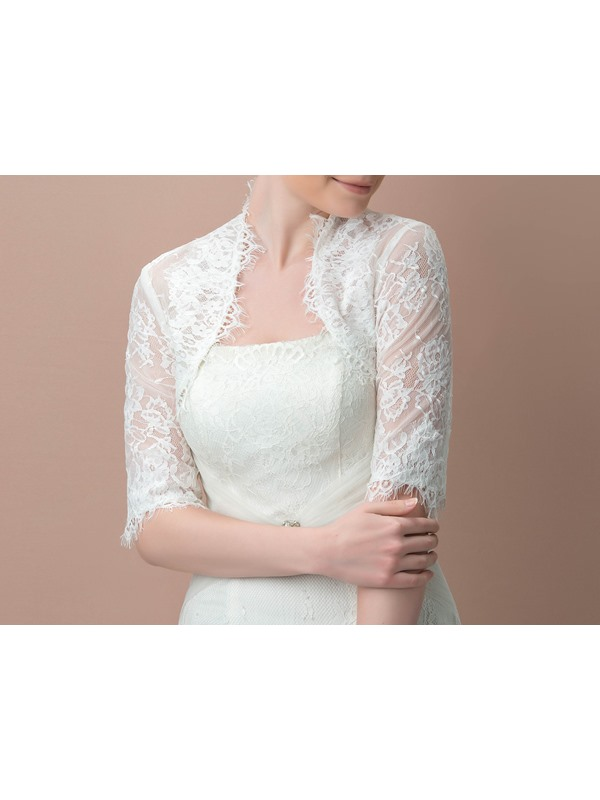 Amazing Lace Half Sleeves Wedding Jacket