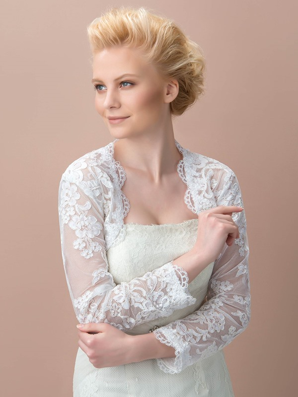 Delicate Long Sleeves Appliques Wedding Jacket