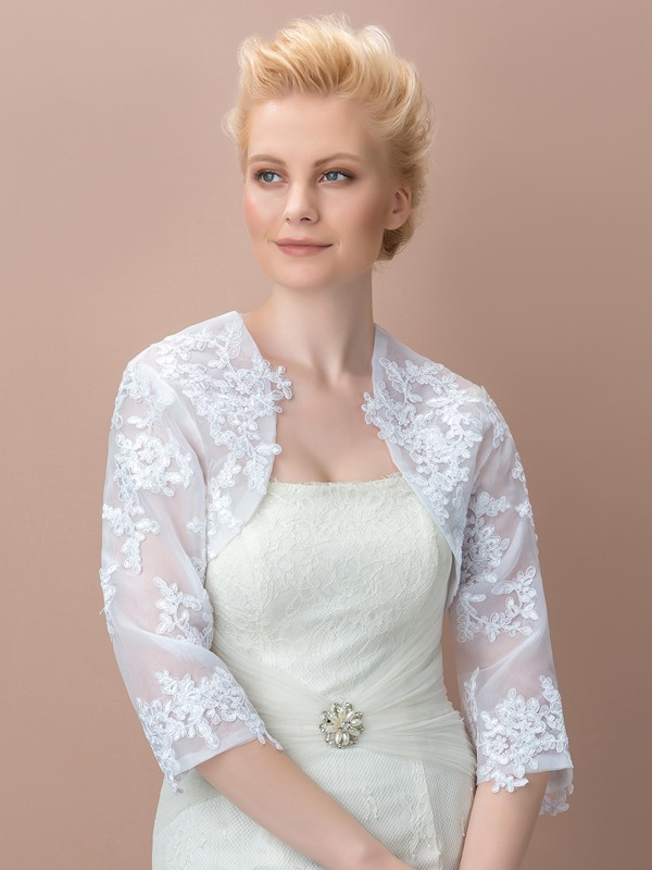 Fancy 3/4 Length Sleeves Appliques Wedding Jacket