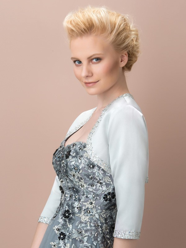 3/4 Sleeves Beading Silver Wedding Jacket